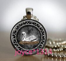 Vintage White Swan Cabochon Tibetan silver Glass Chain Pendant Necklace #1238