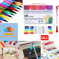 Watercolor Pen Brush Markers Dual Tip Fineliner Drawing Art Markers Pens Set New