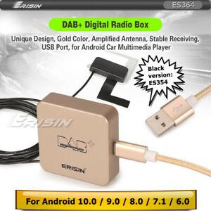 Erisin DAB+ Box Digital Radio Amplified Antenna For Car DVD Android 8.0 9.0 10.0
