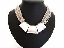 Impresionante Plata Grueso Martillado Tubos Multi Cadenas Collar Distinguido Collar