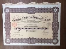Société Minière d'Afrique du Nord 1927 Germain de Montauzan Saint Étienne Action