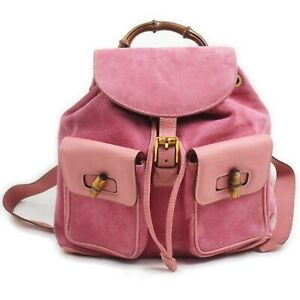 Gucci Back Pack  Pinks Suede Leather 1906455