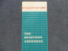 British Aerospace Concorde  Promotional Booklet 1974 The Questions Answered Rare