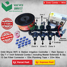 "Orbit B-Hyve 6 Station WiFi Combo -Qty 7 x 1"" 25mm Solenoids, Rain Sensor & Wire"