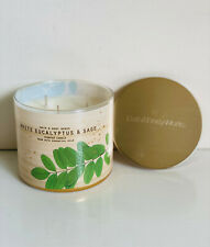 NEW BATH & BODY WORKS WHITE BARN 3-WICK SCENTED CANDLE - WHITE EUCALYPTUS & SAGE