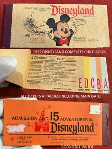 1972 Disneyland Child COMPLETE TICKET BOOK INCLUDING MAINGATE 15 A E TICKETS  L1