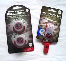 University of Alabama Crimson Tide Infant Gift Set Pack 2 (Two) Pacifiers & Clip