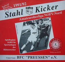 Programm 1991/92 Eisenhüttenstädter FC Stahl - BFC Preussen