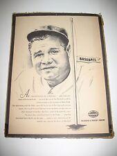 1940s Babe Ruth Advertising  Piece (14 x 11 1/2) Vintage ~Louisville Slugger~