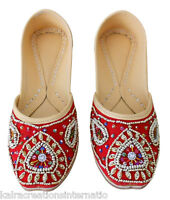 Women Shoes Traditional Mojari Red Handmade Leather Oxfords Indian Jutti US 6-12