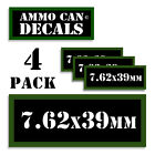 """7.62x39MM Ammo Can LABELS STICKERS DECALS for Ammunition Cases 3""""x1.15"""" 4pack"""