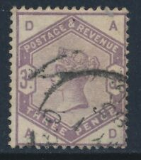 1884 GB QV 3d LILAC USED SG191 LETTERS 'AD'