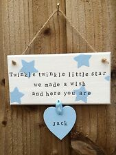 Personalised Plaque Sign New Baby Newborn Birth Nursery Christening Gift Present