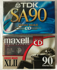 Maxell UR 90 Minute Blank Audio Cassette Tape Normal Bias Lot of 2 NEW Sealed