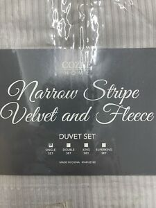 Cozee Home Narrow Stripe Velvet & Fleece 4 Piece Duvet Set Stone Grey Single