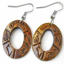 Pair Vintage Tibetan Carved OM Mani Padme Hum Yak Bone Dangle Amulet Earrings