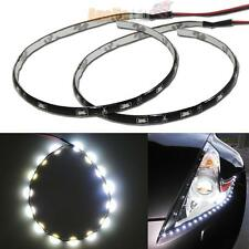 2x Flexible White 12 inches 30cm 15-SMD LED Side Shine Strip Lights DRL #31