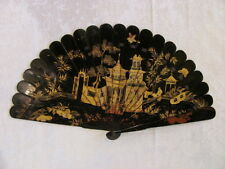 Antique Chinese Export Lacquered Brise Fan Circa 1820