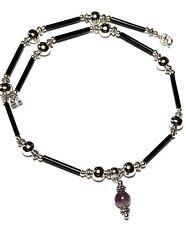 "14"" Black Silver Choker Necklace Pendant Amethyst Gemstone Retro Boho Artisan"