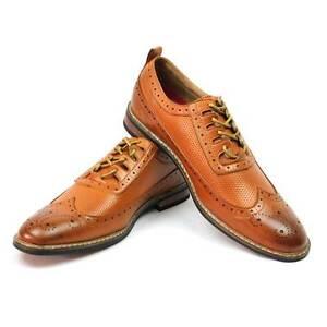 New Men's Dress Shoes Brown/cognac Wing Tip Block Hill Lace OXFORDS Parrazo W/2