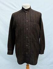 Vtg ISSEY MIYAKE Collarless Brown Traditional Woven Cotton/Silk/Fur Men Shirt S