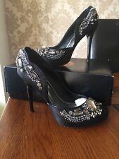 Karen Millen Stiletto High Heel Shoes Ladies 37 (uk 4) Diamante  Xmas Rrp £150
