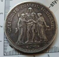G03505 monnaie argent 5 francs hercule 1849 BB Strasbourg Dupré
