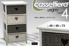 CASSETTIERA H73*40*29 CUORE 4 CASSETT VIMINI BIANCA GRIGIA COMODINO LEGNO 689123