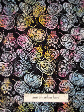 Candy Skull Halloween Cotton BATIK Fabric Timeless Treasures Tonga Batik Yard