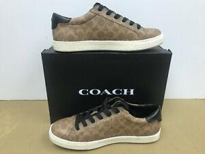 Coach Men C126 Low Top Coated Canvas Shoes khaki signature Size 11