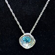 PATRICIA LOCKE Organic Circle Blue/Multi Color Swarovski Crystal Silver Necklace