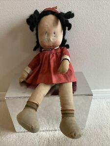 "VINTAGE RARE LITTLE LULU KNICKERBOCKER TOY CO NY 17"" CLOTH DOLL 1930's"