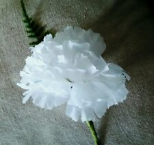 6 x NEW WHITE CARNATION/FERN BUTTONHOLES..WEDDING PARTY.GUEST.PROM