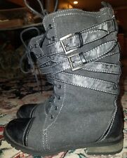 Wild Diva Womens Charcoal Midcalf Canvas Zip/Lace/Buckle Boots Size 7.5M