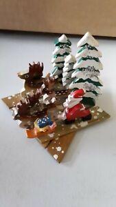 Vtg Japan Expansion Expanding Wood Santa Reindeer Forest Scene