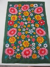 Vintage new old stock linen tea towel flower power green floral 60s 70s retro