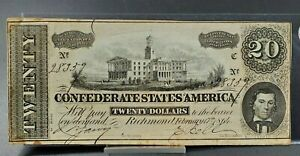1864 Civil War Confederate States Currency $20 Note Twenty Dollar Bill CSA VG