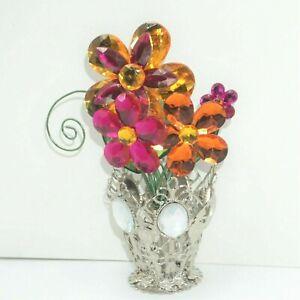 "Ganz Crystal Expressions Daisy Posy Pot Acrylic Flower Vase Pink Orange 5"" NEW"