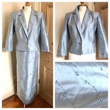 Condici Suit Mother Of The Bride Silk Long Skirt Jacket Pale Blue Size 14 16