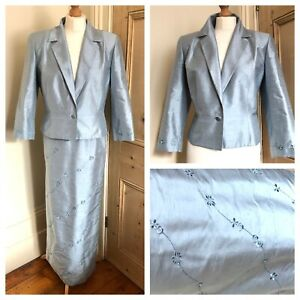 Condici Suit Mother Of The Bride Silk Long Skirt Jacket Pale Blue Size 16