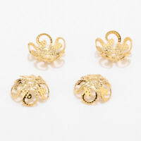 100pcs/lot Gold tone stainless steel Hollow Flower Metal Charms Bead Caps 8/10mm