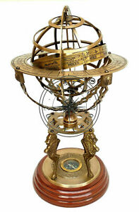 """18"""" Nautical Brass Sphere Engraved Armillary Antique Vintage Globe With Compass"""