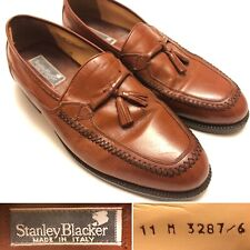 STANLEY BLACKER Tassel Loafers Brown Italian Leather Mens Size 11 M Italy Made