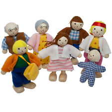 SWEETBEE Dolls House Family of 7 Flexible Wooden Doll House People Figures