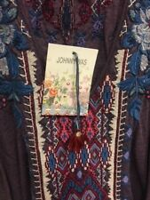 Johnny Was JWLA V Neck Embroidered Dexter Deep Scoop Tee Top  #J11617 New