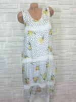 Sommerkleid Hängerchen Kleid Tunika Häkel Spitze unterlegt 38 40 42 Weiß K290