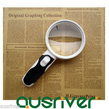 Hand Held Detachable 20x Magnifying Glass Lens Magnifier Loupe 2 LED Lights Gift