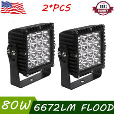 2x 5inch 80W LED Work Light Square Flood Cube Pods FORD Offroad Truck Motor 4WD