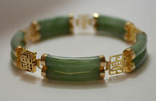 UNIQUE 14k 585 Yellow Gold Genuine Green Jade Double-Row Link Bracelet  18.9 g !