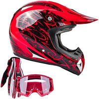 Adult Red Motocross Helmet Combo With Red Gloves Goggles DOT